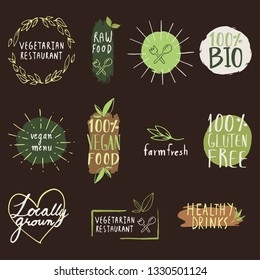 Organic food,Eco products label collection.