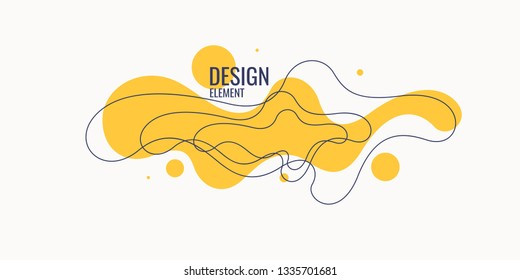 Organic forms with dynamic waves and lines on light background. Vector illustration.