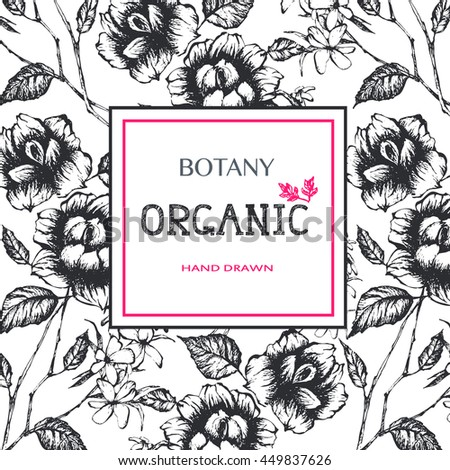 Organic Frame Hand Drawn Floral Botany Stock Vector (Royalty Free ...