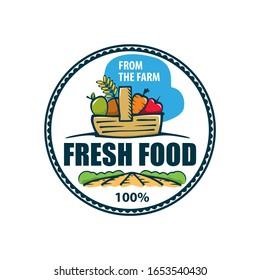 Organic Fresh Product. Vector logo.Farm Fresh badge illustration. Organic product sticker. Farmers Market emblem