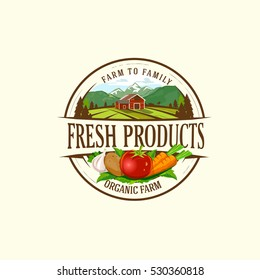 Organic Fresh Product. Vector logo.Farm Fresh  badge illustration. Organic product  sticker. Farmers Market emblem