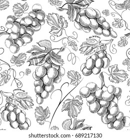 Organic fresh seamless pattern with repeating bunch of grapes in engraving style on white background vector illustration