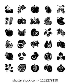 Organic fruits, berries & nuts. Vegan & vegetarian food. Healthy eating & loss weight diet ingredients. Vector flat icon collection. Isolated objects on white background.