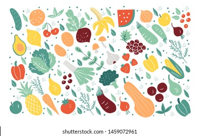 Organic fruits and vegetables flat hand drawn icons isolated on white background. Vector set for your design.