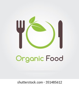 Organic green fresh and clean food. Vector illustration flat logo design.