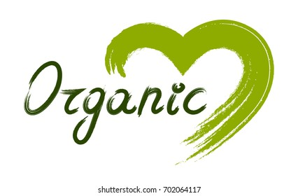 Organic green hand drawn lettering with green hand drawn heart. Vector illustration. Element for design.