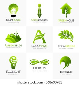 Organic and green logo template collection. Conceptual signs for alternative energy company, natural farming, green technology, bio products store. Bulb, field, letter A, infinity, brain, house icons.
