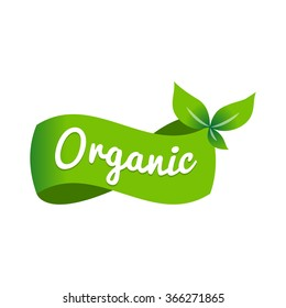 Organic Green Natural Ecology logo icon Label, Isolated in White background