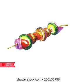 Organic Grilled Vegetable shish Kebab with peppers, mushrooms, and onions
