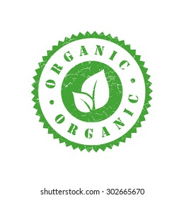 Organic grunge retro green isolated stamp