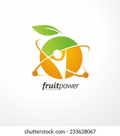 Organic Health Food vector logo concept. Nutrition and Diet unique symbol design. Green Healthy Life creative icon. Fruit and vegetable sign template.