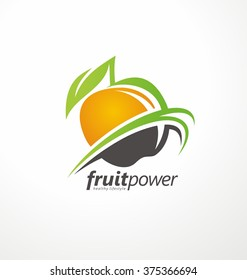 Organic Health Food vector symbol concept. Fruit and Vegetable emblem layout. Nutrition and Diet unique logo design idea. Green Healthy Life creative icon.