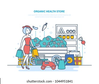 Organic health store. Shopping of products, from farming, gardening, buying in supermarket. Plants, organic clean eco products. Shop selling garden tools and eco food. Illustration thin line design.