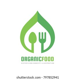 Organic healthy food - vector logo template concept illustration in flat style. Fork and green leaf minimal creative sign. Graphic design element.