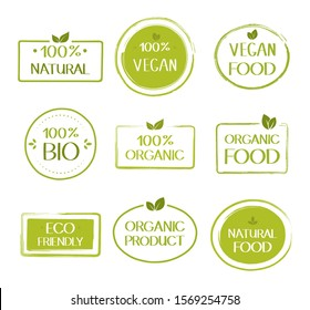 Organic healthy vegan food labels. Natural, fresh, organic food stickers collection. Vector graphic design.