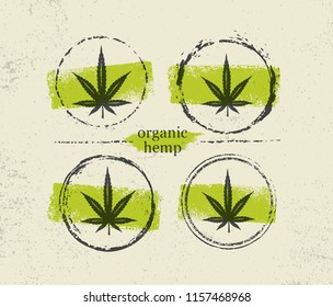 Organic Hemp Raw Protein Supplement Health Care Vector Design Element. Medicine Cannabis Oil Nutrition And Wellness Creative Rough Illustration On Craft Paper Background.
