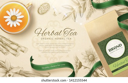 Organic herbal tea in 3d illustration with engraved herbs background