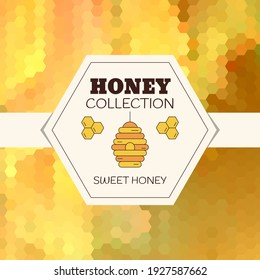 Organic honey collection logo, label, tags design elements. Concept for honey package, banner, wrapping.
