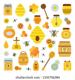 Organic honey products icon set. Bee flowers, beehive, combs, dipper and honey in jars and wooden pot. Natural sweet golden organic syrup. Apiary element and product collection.