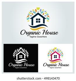 Organic House logo design template ,Home logo ,House care logo ,Home clean logo , Vector illustration