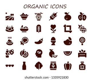 organic icon set. 30 filled organic icons.  Collection Of - Field, Fruit bowl, Beehive, Wheat, Tangerine, Apple, Bitterballen, Salad, Tree, Plant, Crop, Pineapple, Poo, Coconut