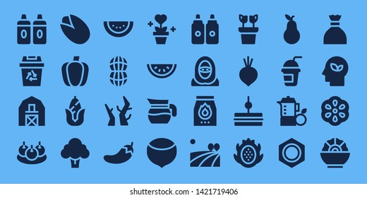 organic icon set. 32 filled organic icons. on blue background style Simple modern icons about  - Sauces, Recycling, Barn, Bitterballen, Pistachio, Paprika, Corn, Broccoli, Watermelon
