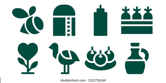 organic icon set. 8 filled organic icons.  Collection Of - Plant, Swarm, Ostrich, Harvest, Bitterballen, Sauce, Olive oil, Carrots