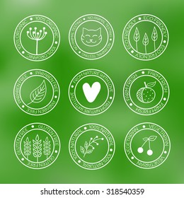 Organic icons in doodle style on green blurred background.