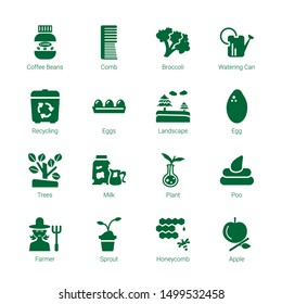 organic icons. Editable 16 organic icons. Included icons such as Coffee beans, Comb, Broccoli, Watering can, Recycling, Eggs, Landscape, Egg, Trees. organic trendy icons for web.