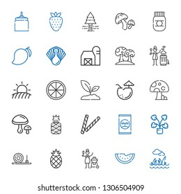 organic icons set. Collection of organic with lawn, watermelon, charcoal, pineapple, straw bale, decorative, fertilizer, mushrooms, mushroom. Editable and scalable organic icons.