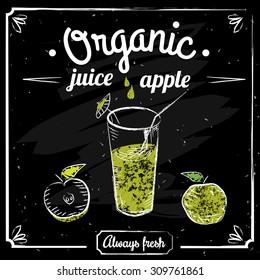 Organic juice, fresh apple, vintage, on a dark background, chalk, vector, banner, illustration