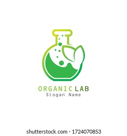 Organic lab with leaf premium logo illustration vector icon