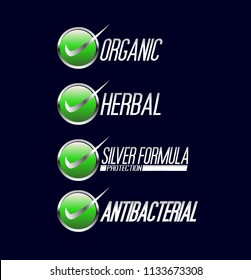Organic Label, Herbal Label, Silver formula protection label and Anti bacterial protection icon symbol, for your healthy product like as soap, mouthwash, and toothpaste