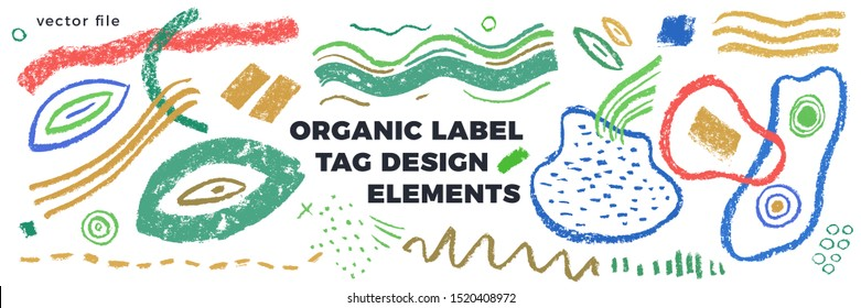 Organic label tag elements on white background with vector vegan icons, nature abstract signs, natures logo, veganism symbols, organic banner template for trendy design of healthy food, eco-product.