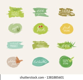 Organic labels and natural labels water color brush style. Farm fresh logos mark guaranteed.