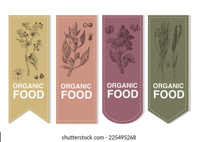 Organic Labels set with cereals