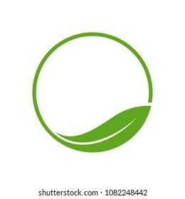 Organic Leaf Circle Simple Emblem Logo Template