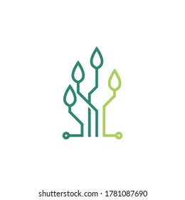 Organic Leaf Eco Technology Computer Circuit Lines Logo Template