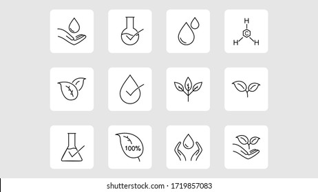 organic leaf line icons. Dermatologically tested, Paraben chemical formula icons.vector design