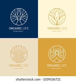 Organic life logo set, Graceful monogram design template,Natural line art vector illustration.