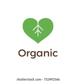 Organic logo design with Heart and Leaf