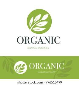 Organic logo. Green and natural product icons. Vector Illustration.