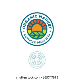 Organic logo. O letter as sun. Farmer products emblem. Leaf and sun in a circle.