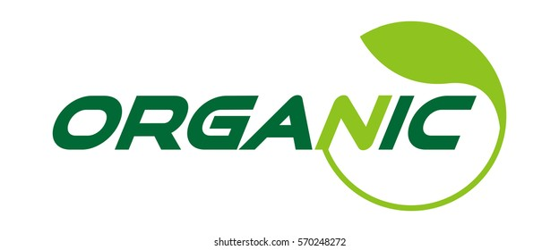 Organic logo text lettering. Eco friendly natural label. Green ecology logotype