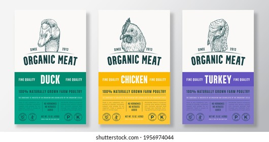 Organic Meat Abstract Vector Packaging Design or Label Templates Set. Farm Grown Poultry Banners. Modern Typography and Hand Drawn Chicken, Duck and Turkey Head Sketch Backgrounds Layout Collection.