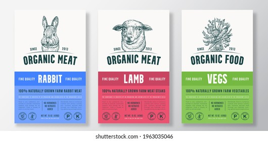 Organic Meat and Vegetables Vector Packaging Design or Label Templates Set. Farm Grown Products Banner. Hand Drawn Herbs, Sheep and Rabbit Head Sketches Backgrounds Layout Collection.