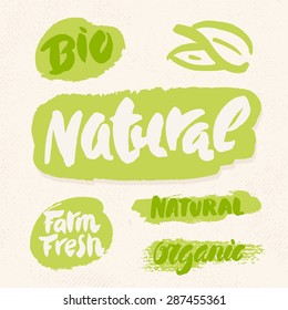Organic, natural, bio and farm fresh. Label and icon set for organic and natural food.