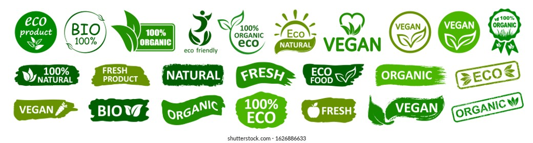 Organic natural bio labels set icon, healthy foods badges, fresh eco vegetarian food – stock vector
