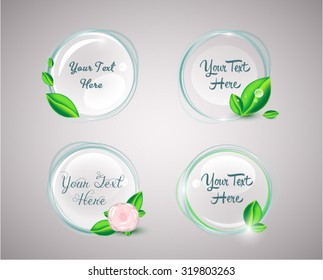 Organic natural circular badges with green leaves, droplets and a rose, EPS 10