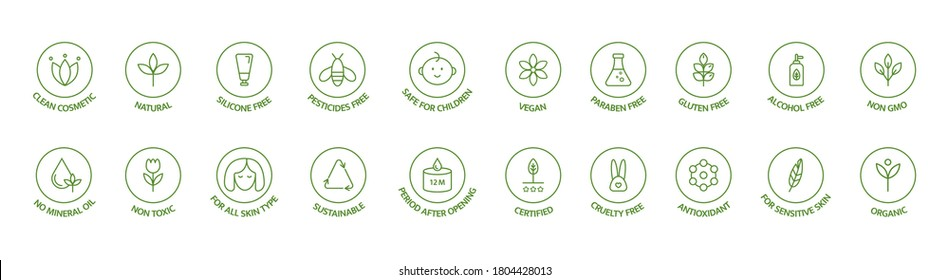Organic and natural cosmetic line icon big set. Hypoallergenic, safe for children, clean cosmetic, non toxic. GMO free emblems. Vegan, bio food. Organic products badges. Vector illustration.